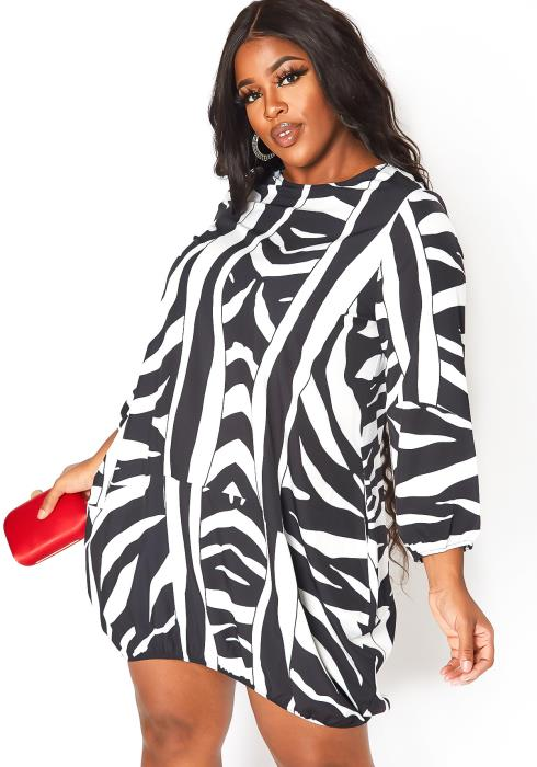 Asoph Plus Size Abstract Zebra Print Cuffed Mini Dress