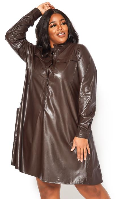 Asoph Plus Size Like No Other Brown PU Leather Flare Mini Dress
