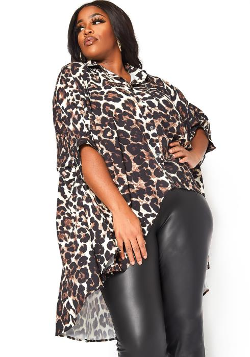 Asoph Plus Size Leopard Print High Low Collar Top