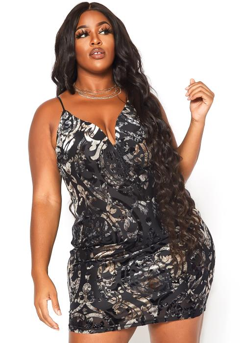 Asoph Plus Size Velvet Floral Print Cross Lace Back Cami Mini Dress
