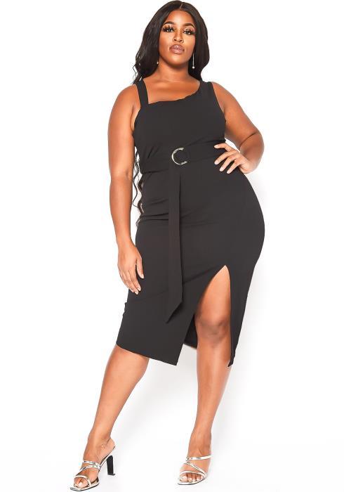 Asoph Plus Size Classy Date Night Slit Hem Midi Dress