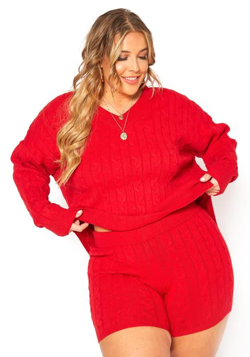 Asoph Plus Size Comfy Cable Knit Sweater & Shorts Set