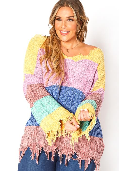 Asoph Plus Size Winter Loving Striped Knit Distressed Sweater