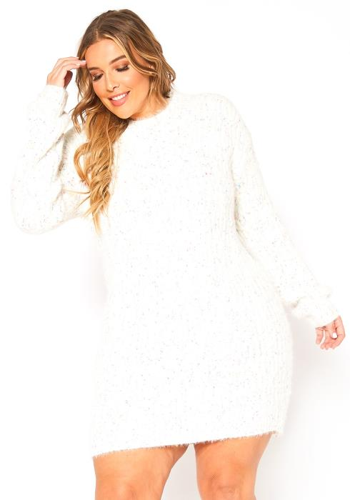 Asoph Plus Size Funfetti Knit Sweater Mini Dress