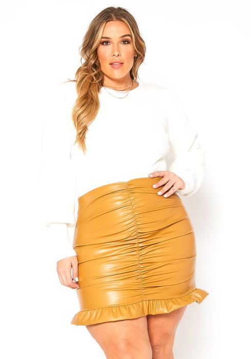 Asoph Plus Size Ruched Ruffle Trim PU Leather Mini Skirt