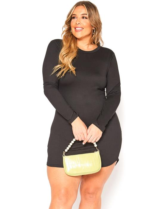 Asoph Plus Size Basic Long Sleeve Bodycon Mini Dress