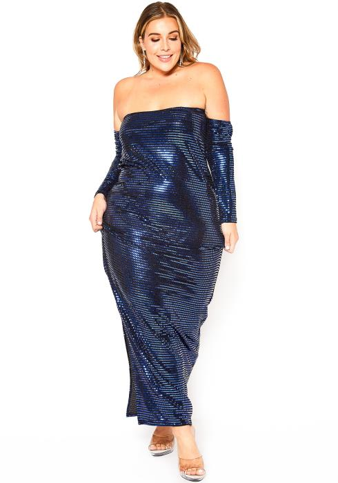 Asoph Plus Size Blue Metallic Off Shoulder Maxi Dress