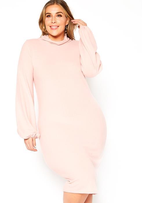 Asoph Plus Size Soft Knit Funnel Neck Midi Dress