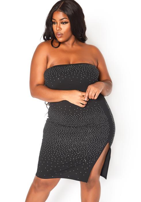 Asoph Plus Size Crystal Glitz Tube Bodycon Mini Dress