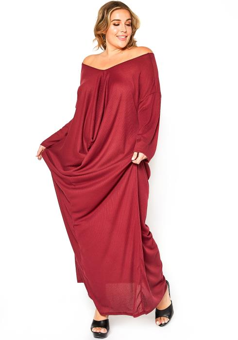 Asoph Plus Size Drape Front Ribbed Knit Maxi Dress