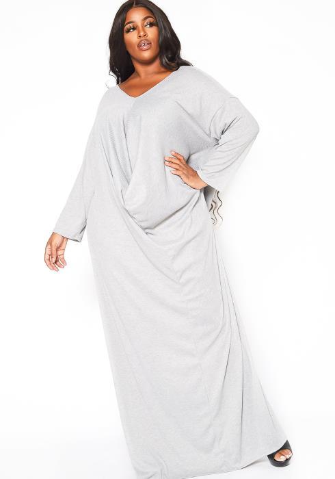 Asoph Plus Size Drape Front Ribbed Knit Maxi Dress