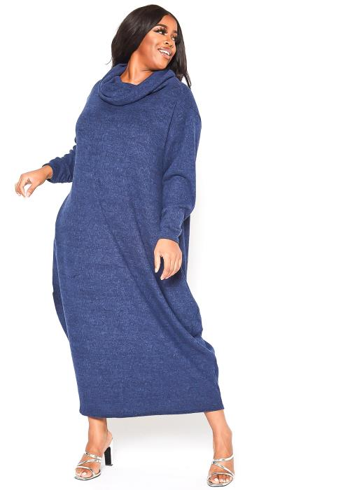 Asoph Plus Size Cowl Neck Ribbed Knit Maxi Dress