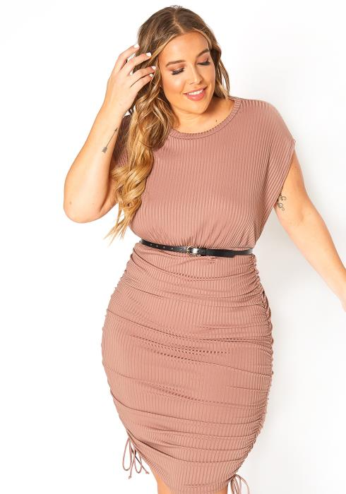 Asoph Plus Size Short Sleeve Ruched Bodycon Mini Dress