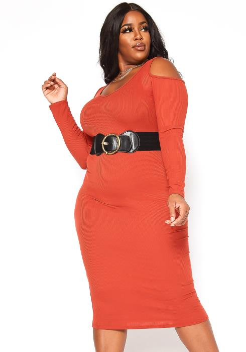 Asoph Plus Size Cold Shoulder Ribbed Knit Belted Midi Dress