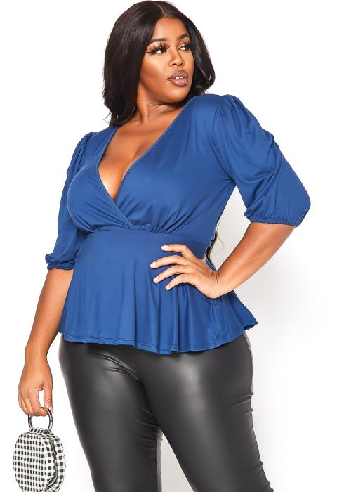 Asoph Plus Size Peplum Flare Top