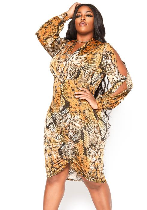 Asoph Plus Size Rustic Snakeskin Print Midi Dress