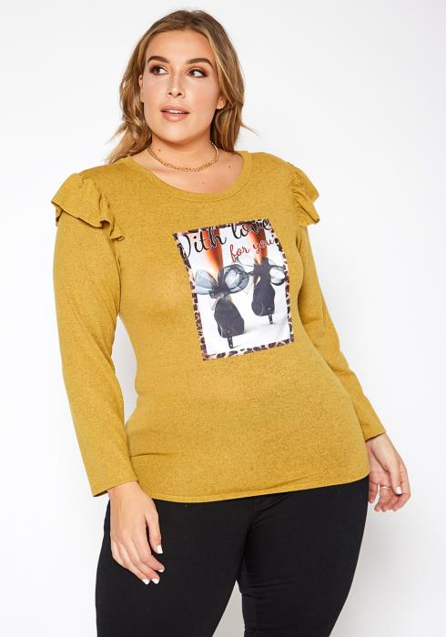 Asoph Plus Size With Love Fashion Graphic Top