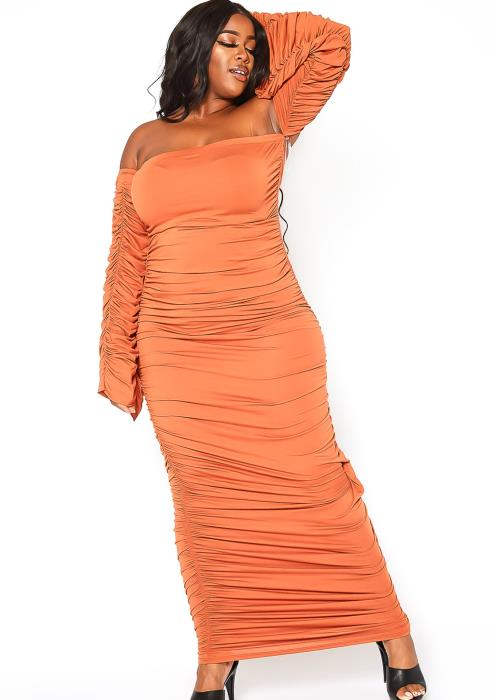 Asoph Plus Size All Over You Ruched Off Shoulder Bodycon Maxi Dress