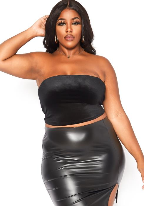 Asoph Plus Size Velvet Tube Crop Top