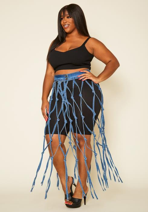 Asoph Plus Size One Of A Kind Denim Fishnet Maxi Skirt