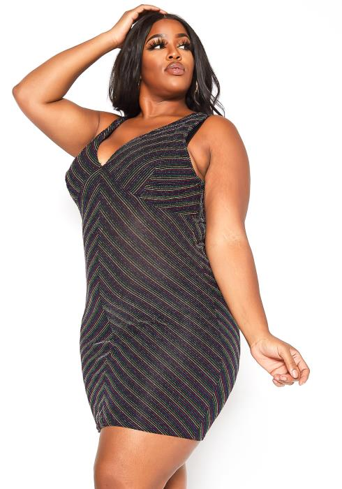 Asoph Plus Size Rainbow Shimmer V Neck Bodycon Mini Dress