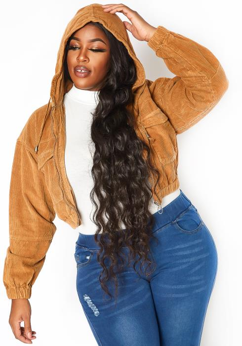 Asoph Plus Size Corduroy Hooded Crop Fit Jacket