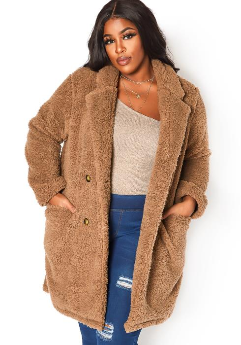 Asoph Plus Size Teddy Knit Longline Collar Coat