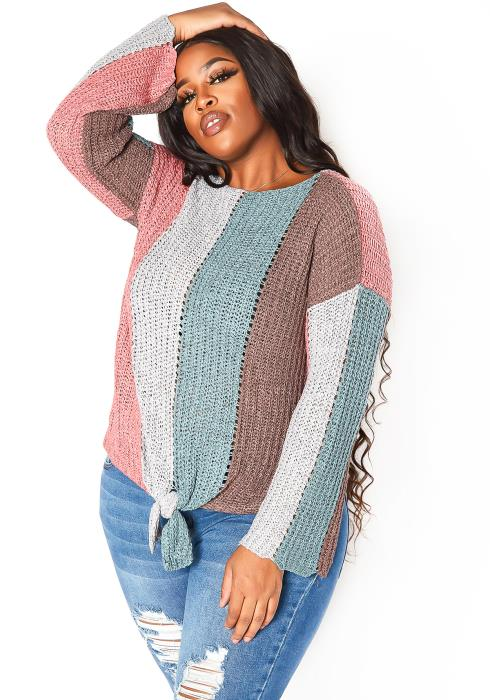 Asoph Plus Size Multi Striped Lightweight Knit Sweater