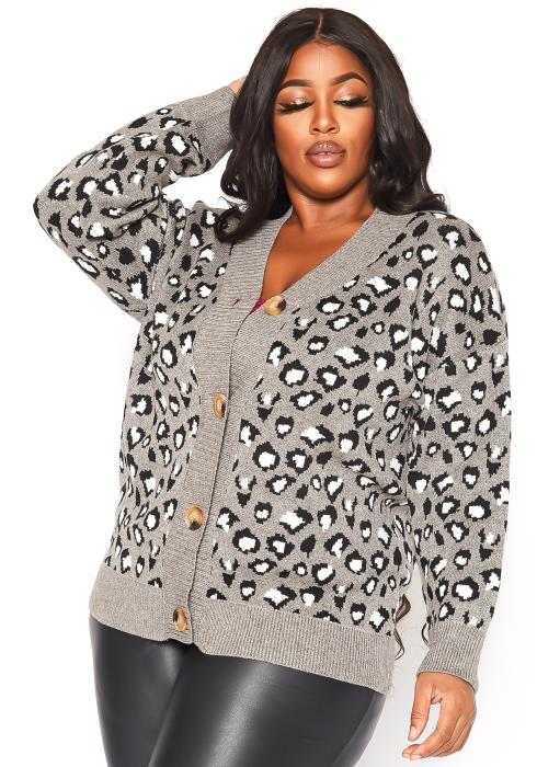 Asoph Plus Size Grey Leopard Print Cardigan Sweater