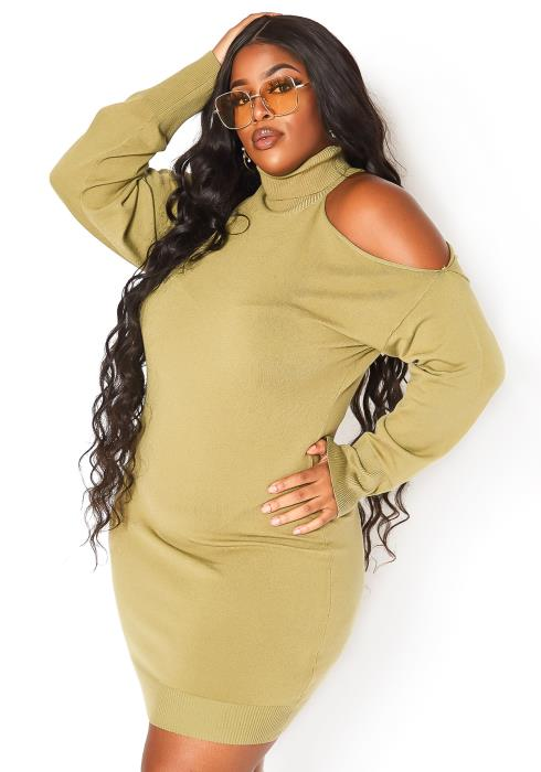 Asoph Plus Size Turtle Neck Cold Shoulder Knit Mini Dress
