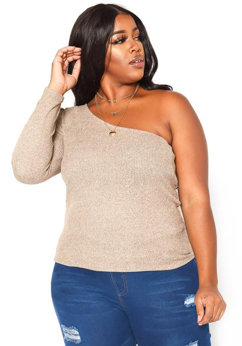 Asoph Plus Size One Shoulder Long Sleeve Top