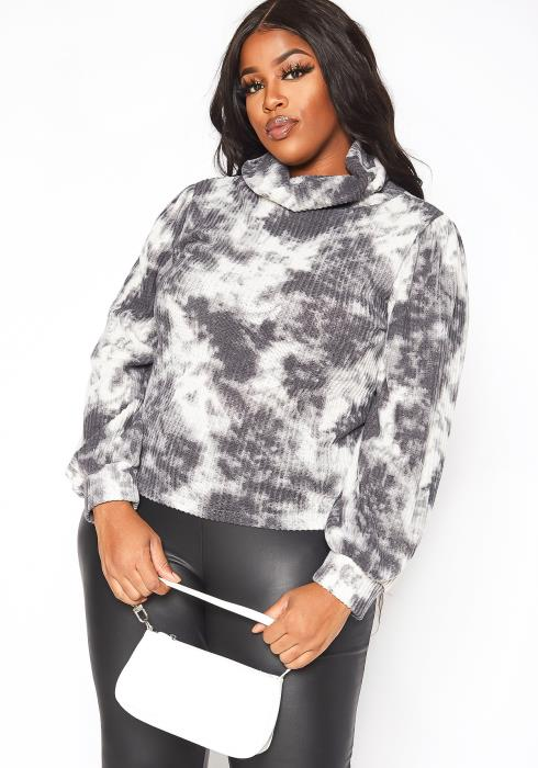 Asoph Plus Size Tie Dye Fade Thermo Knit Turtle Neck Sweater