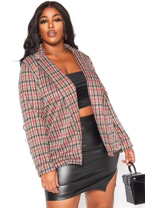 Asoph Plus Size Red Plaid Notch Collar Open Front Blazer