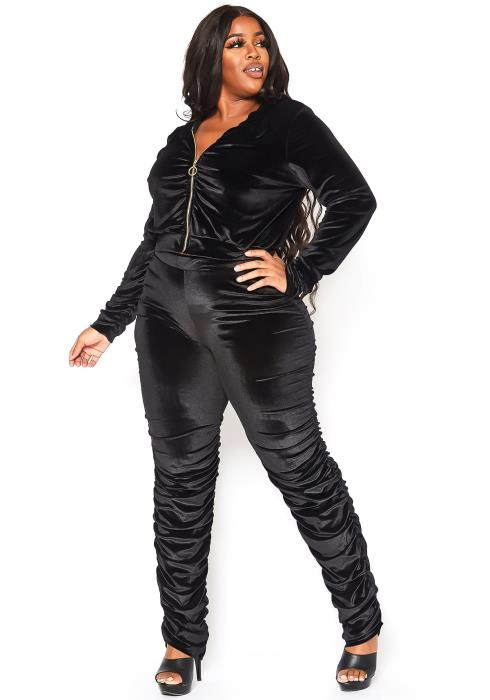 Asoph Plus Size Velvet Luxe Hooded Sweater & Ruched Pants Set