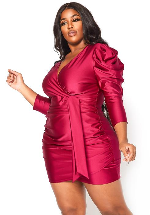 Asoph Plus Size Sultry Ruched Bodycon Mini Dress