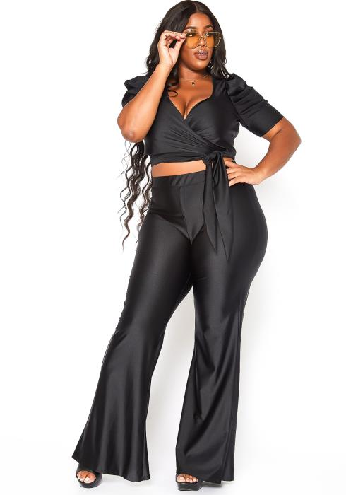 Asoph Plus Size Sweet Desire Crop Top & Flare Legging Set