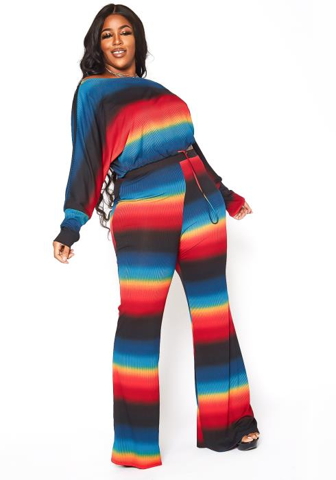 Asoph Plus Size Vibrant Striped Crop Sweater & Flare Pants Set