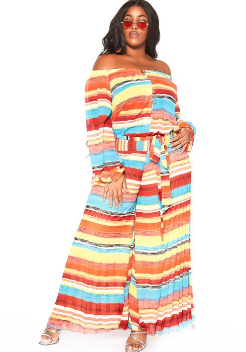 Asoph Plus Size Sunset Striped Pleated Jumpsuit