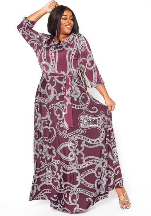 Asoph Plus Size Paisley Print Fit & Flare Maxi Dress