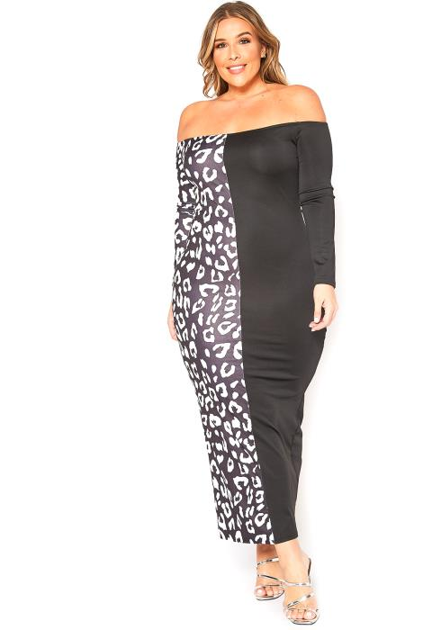 Asoph Plus Size Leopard Splice Bodycon Maxi Dress