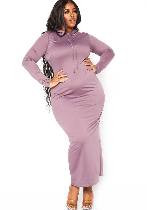 Asoph Plus Size Hooded Lounge Maxi Dress