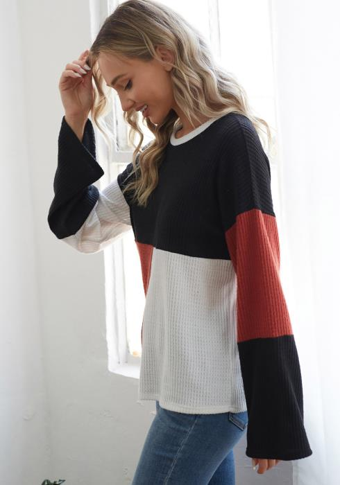 CY Fashion Asymmetric Color Block Sweater