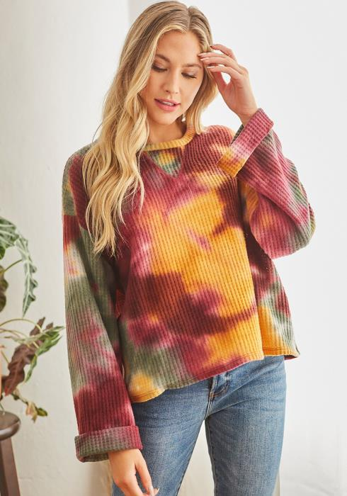 CY Fashion Tie Dye Long Sleeve Crew Neck Sweater