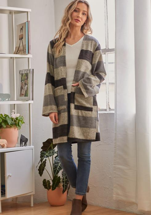CY Fashion Striped Long Sleeve Long Cardigan