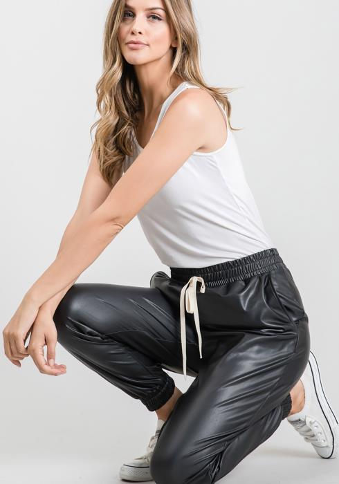CY Fashion PU Leather Jogger Pants