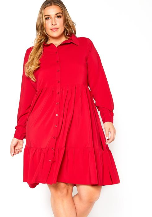 Asoph Plus Size Button Front Collar Mini Dress