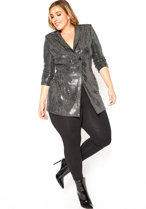 Asoph Plus Size Vegas Party Silver Metallic Long Blazer