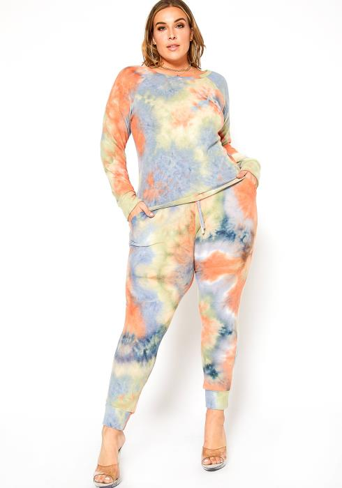 Asoph Plus Size Pastel Tie Dye Long Sleeve Top & Pants Set