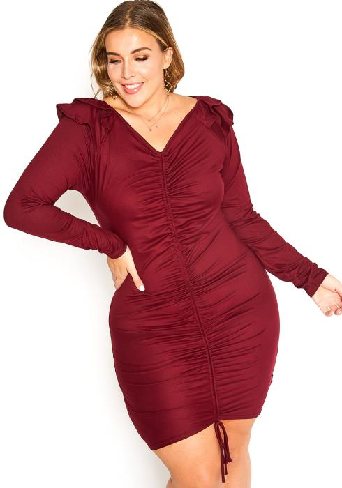 Asoph Plus Size Ruched Front Bodycon Mini Dress