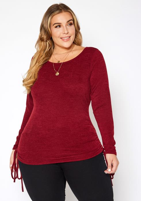 Asoph Plus Size Side Drawstring Hem Long Sleeve Top